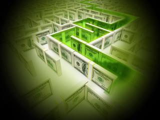 Financial Maze Labyrinth whith green path