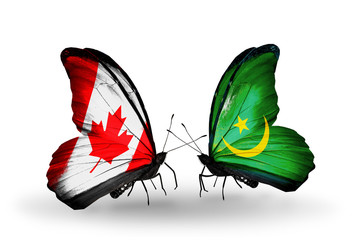 Two butterflies with flags Canada and Mauritania