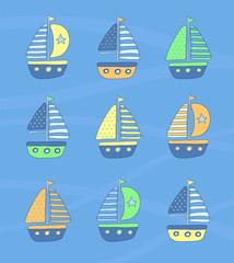 Hand Drawn Sailing Boats