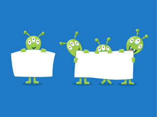 Cute Aliens holding a white sign