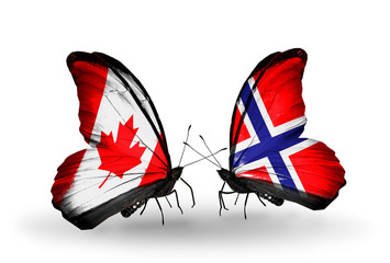Two butterflies with flags Canada and Norway