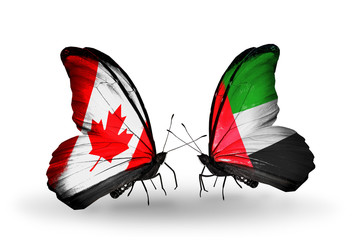 Two butterflies with flags Canada and UAE