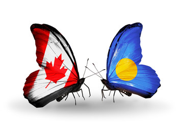 Two butterflies with flags Canada and Palau