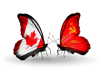 Two butterflies with flags Canada and Soviet Union