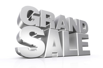 3D silver text grand sale.