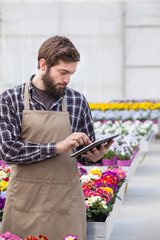 Young adult garden worker using digital tablet
