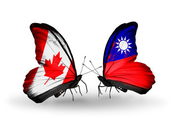 Two butterflies with flags Canada and Taiwan