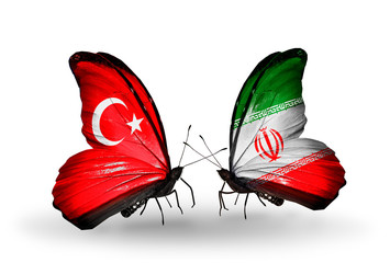 Two butterflies with flags Turkey and Iran