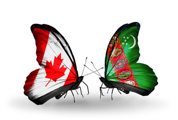 Two butterflies with flags Canada and Turkmenistan