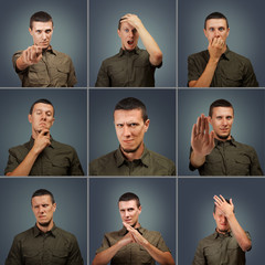 Collection of male face negative expressions