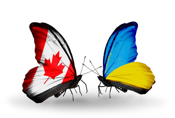 Two butterflies with flags Canada and Ukraine