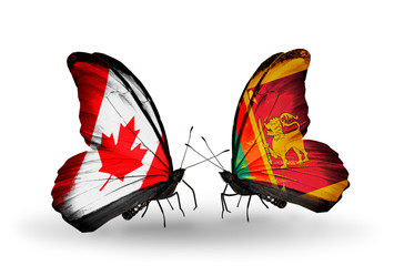 Two butterflies with flags Canada and Sri Lanka