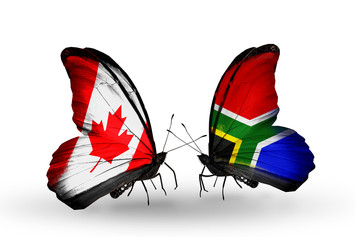 Two butterflies with flags Canada and South Africa