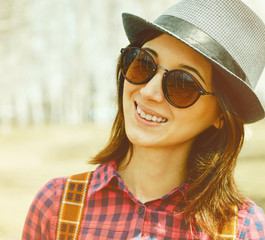 Happy hipster girl