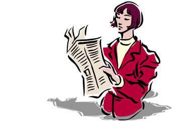 Donna che legge giornale finanza logo