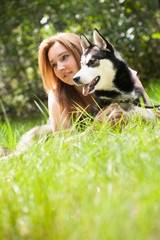 portrait of dog and owner