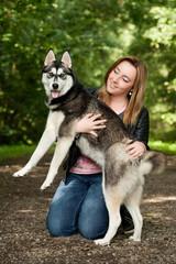 Bond girl and her husky