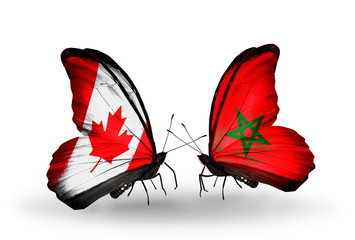 Two butterflies with flags Canada and Morocco