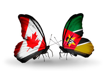 Two butterflies with flags Canada and Mozambique