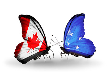 Two butterflies with flags Canada and Micronesia
