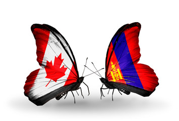 Two butterflies with flags Canada and Mongolia