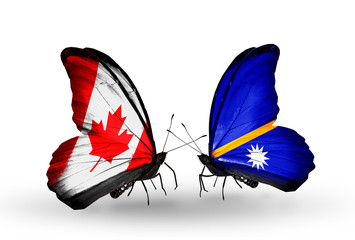 Two butterflies with flags Canada and Nauru