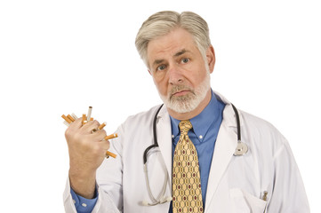 Serious Doctor Crushing Cigarettes