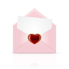 Pink envelope with heart