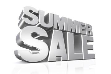 3D silver text summer sale.