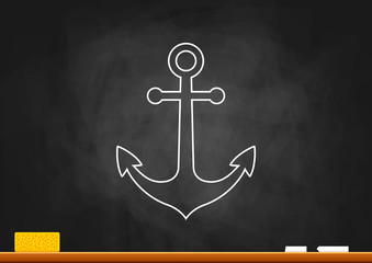 Drawing of anchor on blackboard