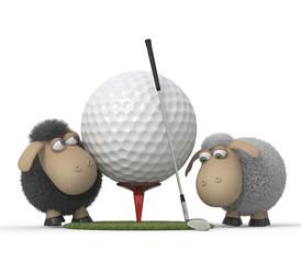 Sheep play golf