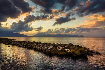 The Sicilian coast at sunset