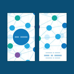 Vector connected dots vertical round frame pattern business