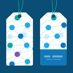 Vector connected dots vertical stripe frame pattern tags set