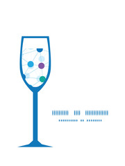 Vector connected dots wine glass silhouette pattern frame