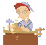 Cheerful carpenter works at joinery shop poster