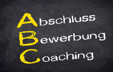 Kreidetafel mit ABC, Abschluss, Bewerbung, Coaching