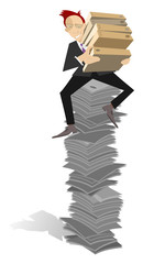Businessman sits on the high pile of documents