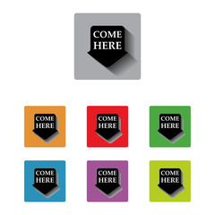 vector come here arrow tag sign icon