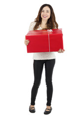 Woman carrying a gift package