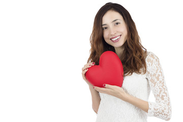 Valentines day woman showing a big red heart