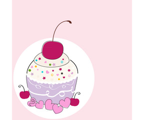 Cup cake greeting card vector background