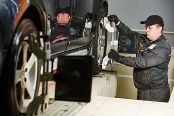 car wheel alignment service work