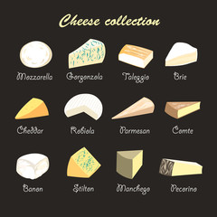 illustration of a collection of cheeses
