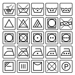 Laundry care symbols. Set of textile care icons. Wash and care s