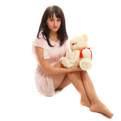 Woman and a toy bear
