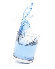 Glass with water splash