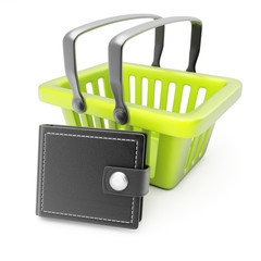 Shopping basket and wallet