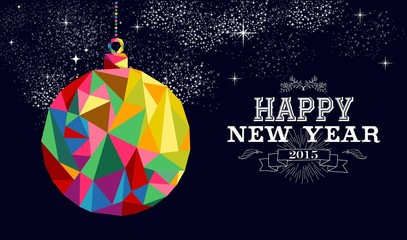 New year 2015 bauble ornament card