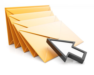 Stack of envelopes and arrow cursor